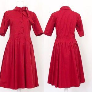 EShakti Tie Neck Red Poplin Dress w/ pockets